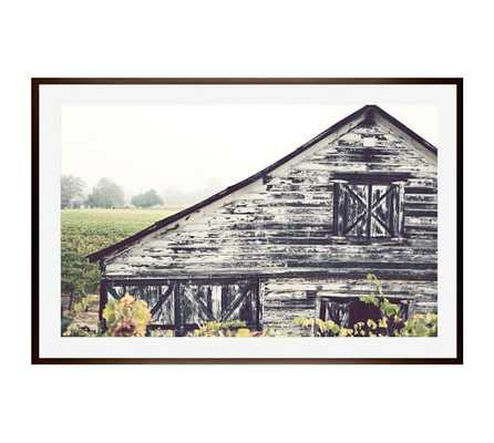 """Weathered Barn - 42"""" X 28"""" - Espresso Wood Gallery Frame - With mat - Pottery Barn"""