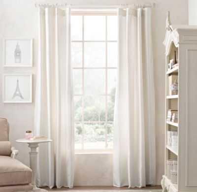 "Washed silk drapery panel - Ivory, 108""L - RH Baby & Child"
