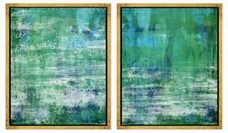 """Abstract Greens and Blues- Set of 2 - 21.75"""" x 25.75"""" - Framed - One Kings Lane"""
