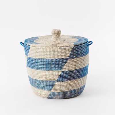 Graphic Printed Oversized Basket - Blue Stripes - West Elm