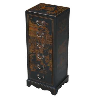 Handmade Oriental Antique Style Black Bonded Leather Accent / Hall Table - Wayfair