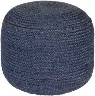 Anita Jute Pouf, Navy - One Kings Lane