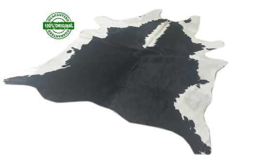 Cowhide Rug BLACK&WHITE 6.7 x 6.1 ft - Etsy