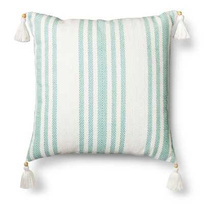 "Threshold â""¢ Woven Stripe Throw Pillow- 18L x 18W-Aquarius blue- Polyester fill insert - Target"