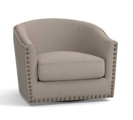 HARLOW UPHOLSTERED SWIVEL ARMCHAIR - Pottery Barn