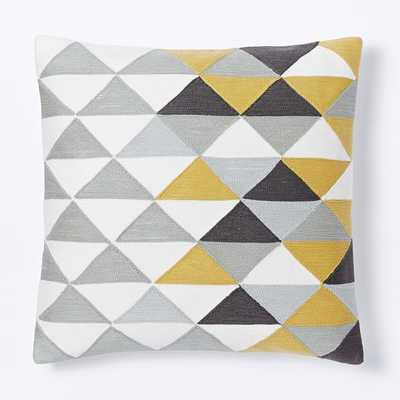 """Optical Triangle Crewel Pillow Cover - Horseradish-18""""sq.-  Insert Sold Separately - West Elm"""