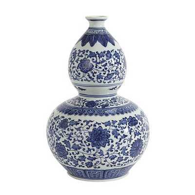 Blue and White Porcelain Vase, Double Gourd - Ballard Designs