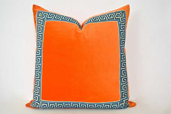 "Orange Pillow with Greek Key Trim - 18""x18""- Down/feather pillow insert - Etsy"