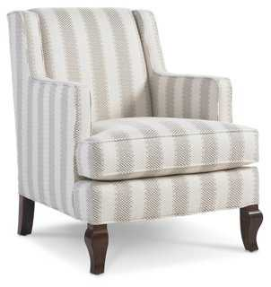 Gresham Chair, White/Greige Stripe - One Kings Lane