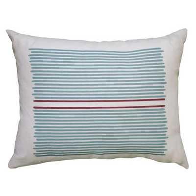 "Louis Stripe Linen Lumbar Pillow - Blue / Red Stripe - 14"" H x 18"" W - Eco-fill - AllModern"