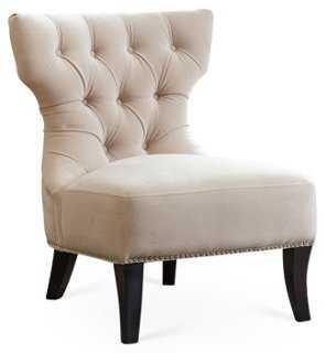 Emelie Tufted Slipper Chair, Ivory - One Kings Lane