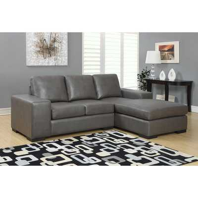 Charcoal Grey Bonded Leather Sofa Lounger - Overstock
