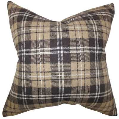 Baxley Plaid Brown Down Filled Throw Pillow - 20x20 - Overstock