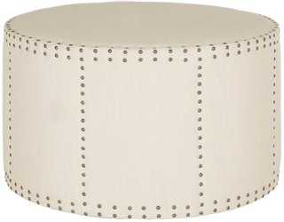 Cheryl Nailhead Round Ottoman - One Kings Lane