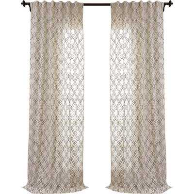 "Saida Embroidered Faux Linen Sheer Single Curtain Panel - 84"" L x 50"" W - Wayfair"