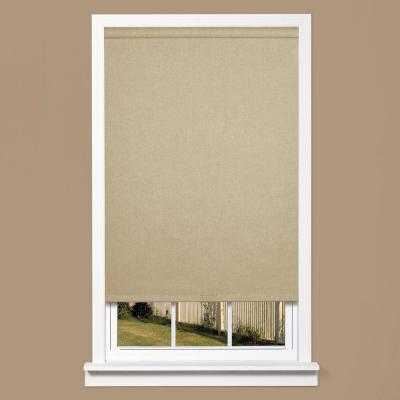 Grey Linen-Look Thermal Fabric Cordless Roller Shade - Home Depot