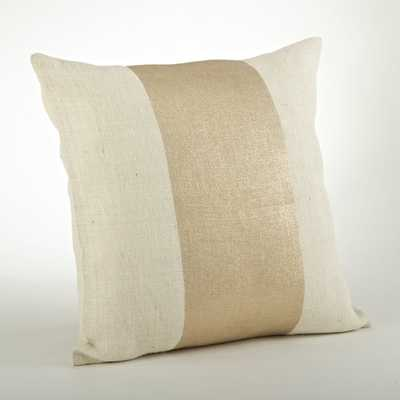 Banded Foil Burlap Down Filled 20-inch Throw Pillow - Overstock