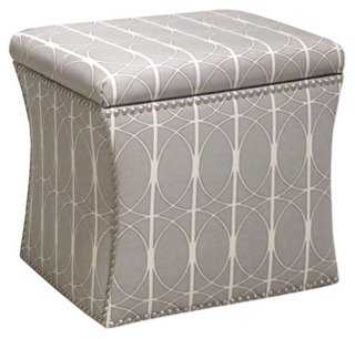 Merritt Storage Ottoman, Gray/White - One Kings Lane