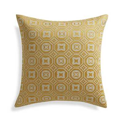 """Caro Yellow 20"""" x 20"""" Pillow with Feather-Down Insert - Crate and Barrel"""
