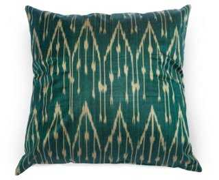 Ikat 18x18 Silk Pillow, Green-Insert included - One Kings Lane