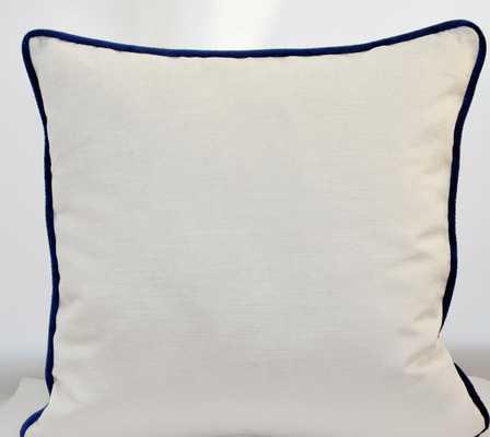 White & blue Velvet Pillow Cover - 24X24 - Insert Sold Separately - Etsy