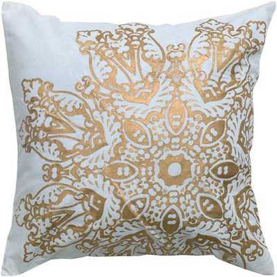 "SATNA MEDALLION PILLOW-18"" square x 3""D.-White/Gold-Polyester fiber insert - Home Decorators"
