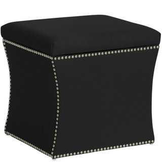 Skyline Furniture Nail Button Storage Ottoman in Klein Black - Overstock