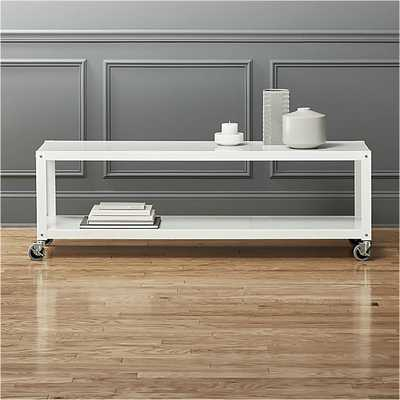 go-cart white rolling tv stand/coffee table - CB2