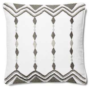 Chevron & Diamond 18x18 Pillow, Gray - One Kings Lane