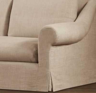 BELGIAN ROLL ARM SLIPCOVERS - Brushed Beligian Linen Cotton, Flax, 9' Classic - RH