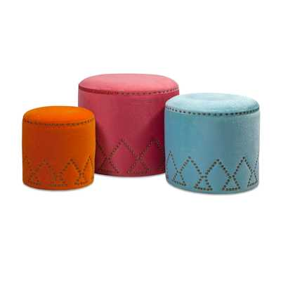 IMAX Mickie Multicolor Ottomans, Set of Three - Bellacor