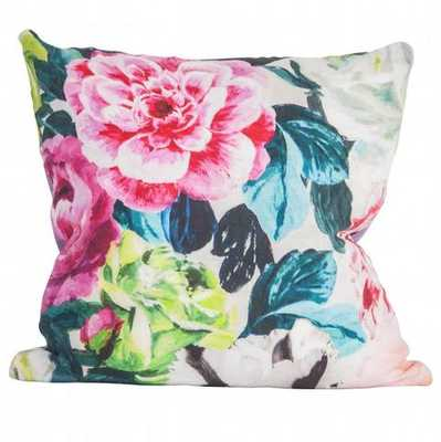 """Multicolor Peony Pillow - 18"""" x 18"""" - With Down Insert - Society Social"""