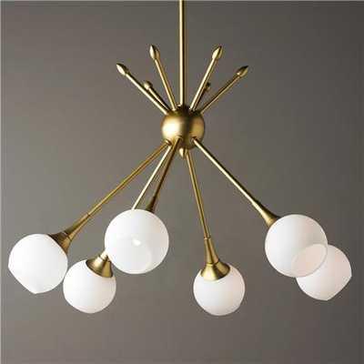 MidCentury Modern Mobile Chandelier 6 Light - Golden Brass - shadesoflight.com