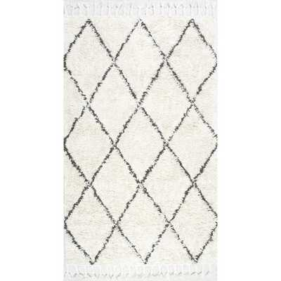 nuLOOM Hand-knotted Moroccan Trellis Natural Shag Wool Rug - Overstock