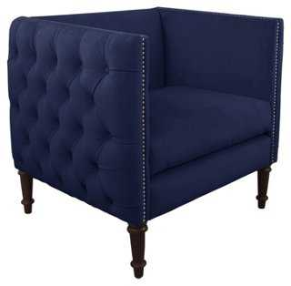 Aldridge Tufted Chair, Navy Velvet - One Kings Lane