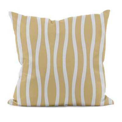 "Wavy Stripe Down Throw Pillow - 16"" x 16"" - Yellow - Polyfill - Wayfair"