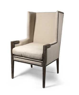 Linen Nailhead Wing Chair - Bliss Home and Design