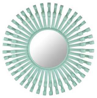 Mayfair Round Swirls Mirror, Aqua - One Kings Lane