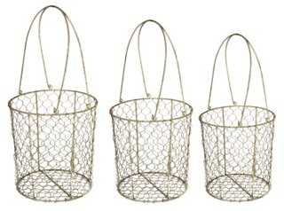 Asst of 3 Wire Baskets - One Kings Lane