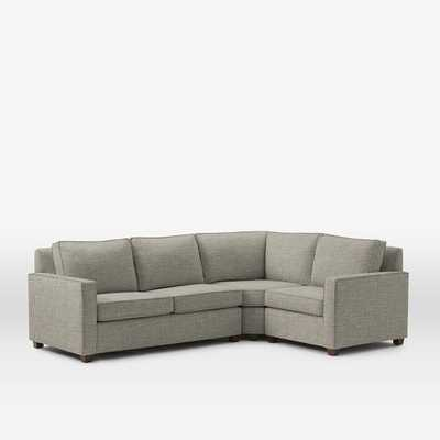 Left Facing 3-Piece Sectional - Heathered Tweed ,Cement - West Elm