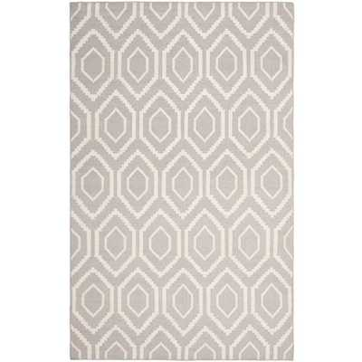 Safavieh Moroccan Reversible Dhurrie Transitional Grey/Ivory Wool Rug (5' x 8') - Overstock
