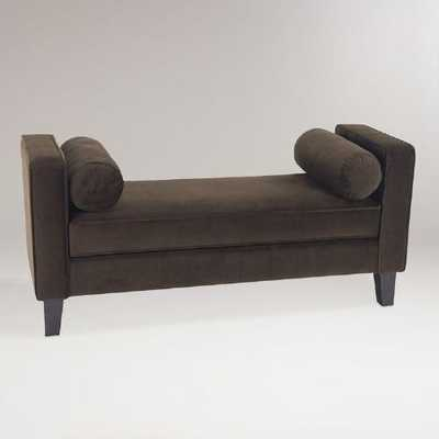 Chocolate Velvet Taylor Bench with Bolsters - World Market/Cost Plus