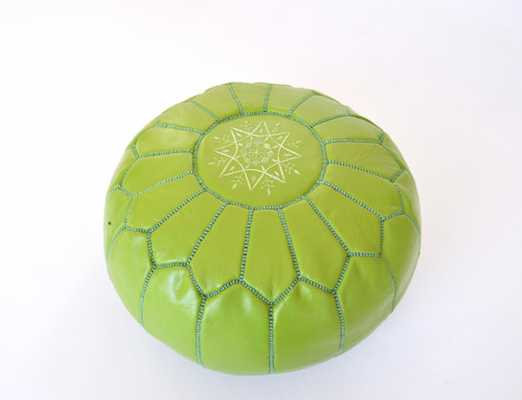 Moroccan Designer Lime Green luxury Leather Pouf - Etsy