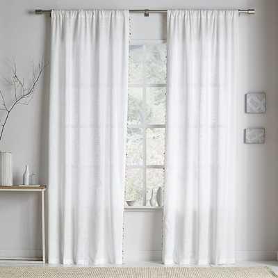 "Wood Bead Trim Curtain, Set of 2, White, 48""x108"" - West Elm"