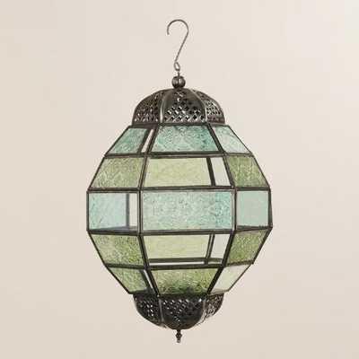 Large Blue / Green Glass Hanging Ball Raya Lantern - World Market/Cost Plus