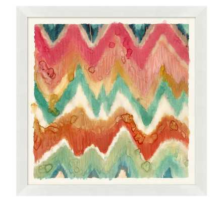 "COLORFUL PAINTERLY IKATS WHITE FRAMED PRINTS - Chevron - 21"" square - Pottery Barn"