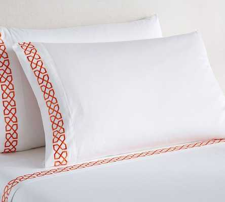 Avery Embroidered Organic Sateen Sheet Set - King, Clementine - Pottery Barn