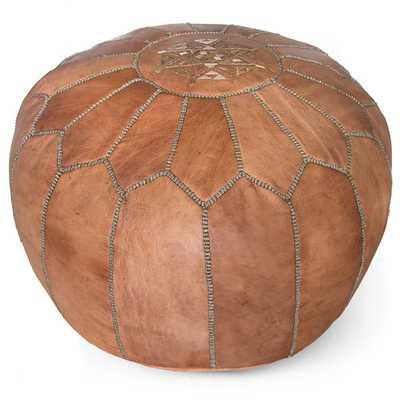 Moroccan Pouf Ottoman - Dark Tan - Wayfair