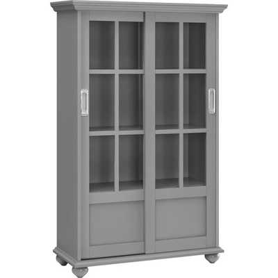 Altra Arron Lane Soft Grey Bookcase with Sliding Glass Doors - Overstock