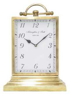 "16"" Table Clock, Brass - One Kings Lane"